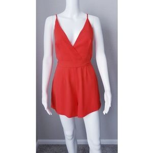 NWOT Finders Keepers red strappy low cut romper